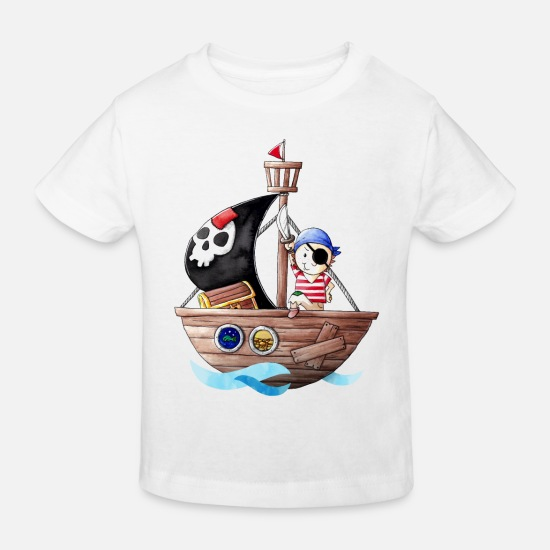 Pirate Baby Clothes - Little pirate with his ship - Kids' Organic T-Shirt white