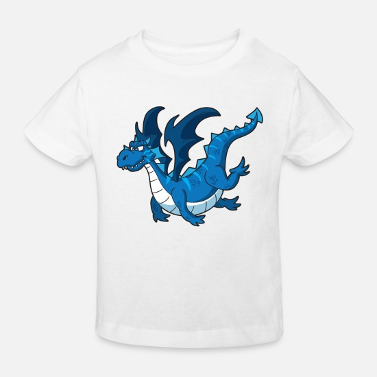 Fantasy Baby Clothes - Blue dragon - Kids' Organic T-Shirt white