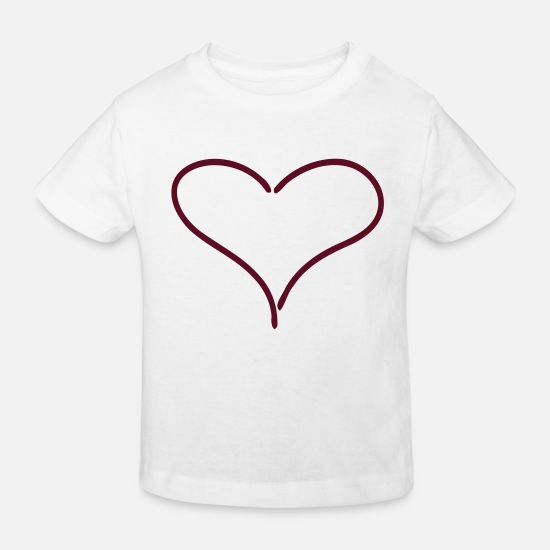 Heart Baby Clothes - Heart Love - Kids' Organic T-Shirt white