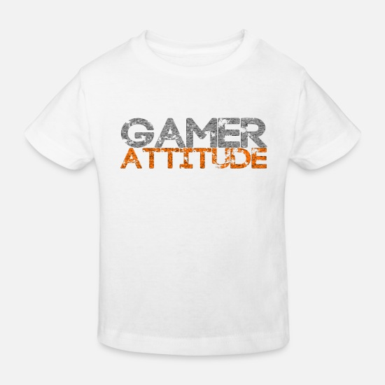 Attitude To Life Baby Clothes - Gamer Attitude - Kids' Organic T-Shirt white