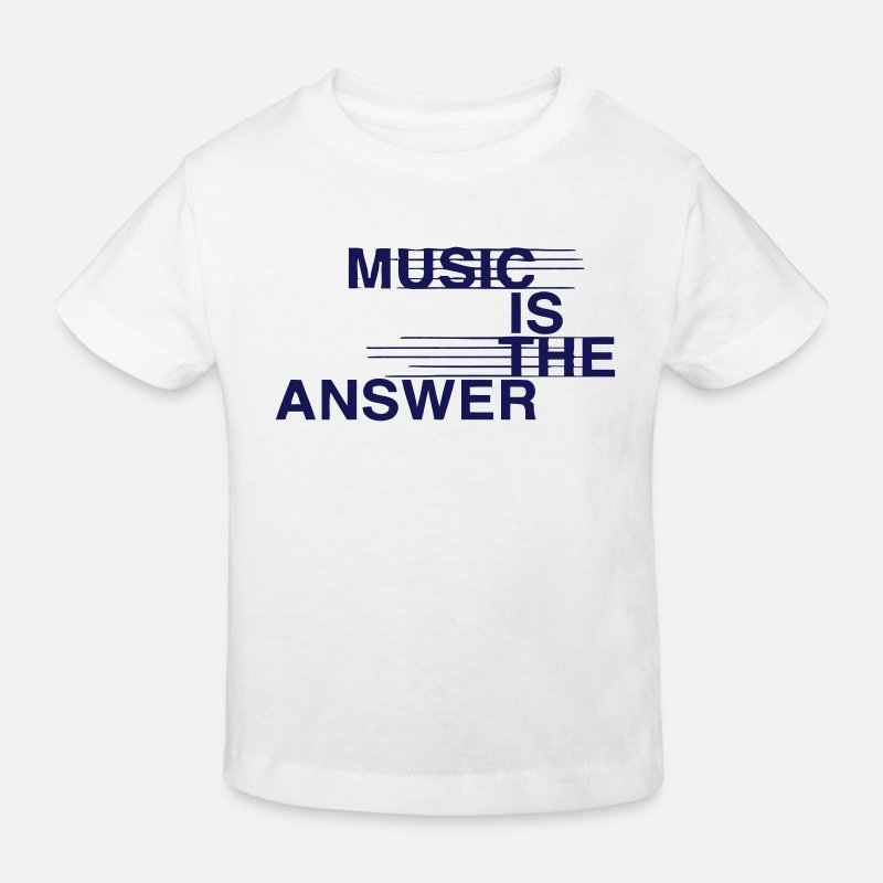 Music Is The Answer T-Shirts - MUSIC IS THE ANSWER - Kinderen bio T-shirt wit
