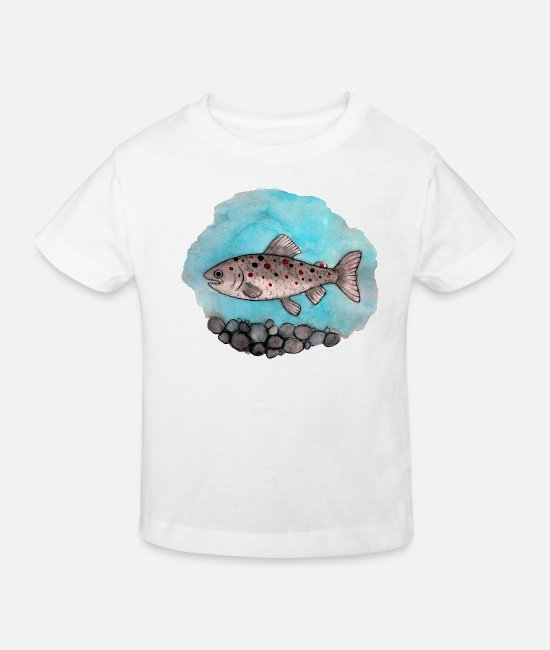 Watercolour Baby Clothes - Trout - Kids' Organic T-Shirt white