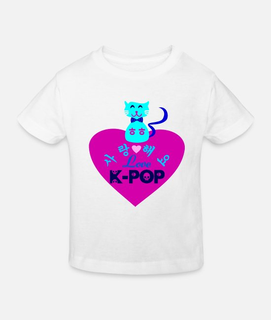I Love K Pop Fabulous K Pop Vector Design For Must Have Cool K Pop Stylish Clothing T-Shirts - ♥♫I Love Kpop-Saranghaeyo KPop-Kpopholic♪♥ - Kids' Organic T-Shirt white