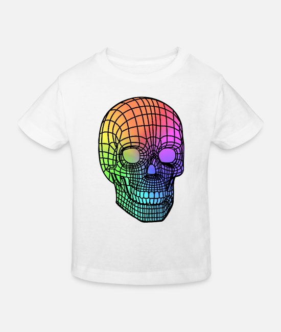 Geometry Baby Clothes - Funny Skull - Colorful skull - Linear Skull - Kids' Organic T-Shirt white