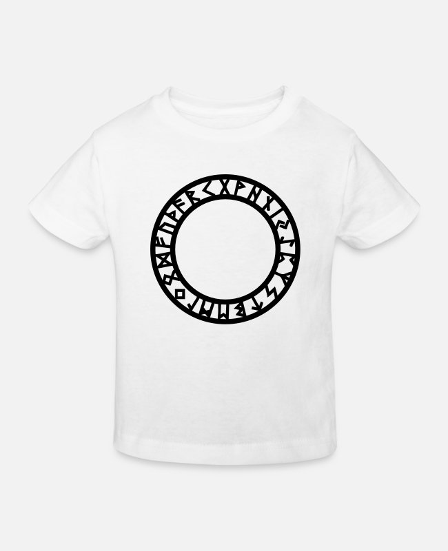 Mystic T-Shirts - Rune Circle, Magical, Symbol, Futhark, Old Norse, - Kids' Organic T-Shirt white