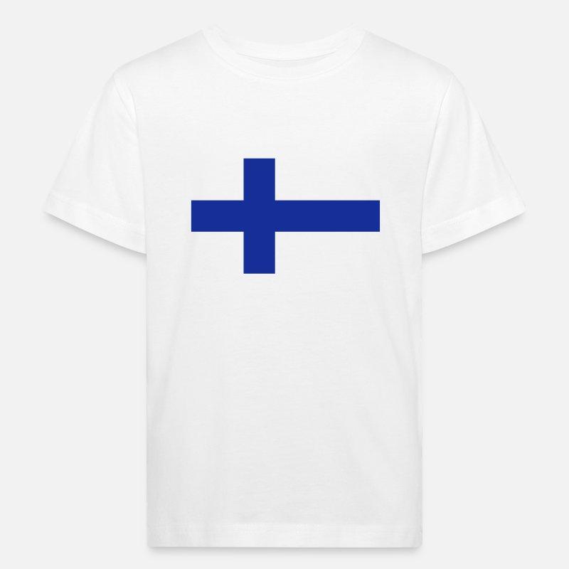 Suomi T-paidat - National lippu Suomen - Lasten luomu t-paita valkoinen 41b27c0307