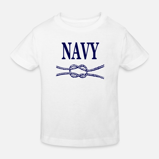 Army Baby Clothes - NAVY BLUE SCRIPT - Kids' Organic T-Shirt white