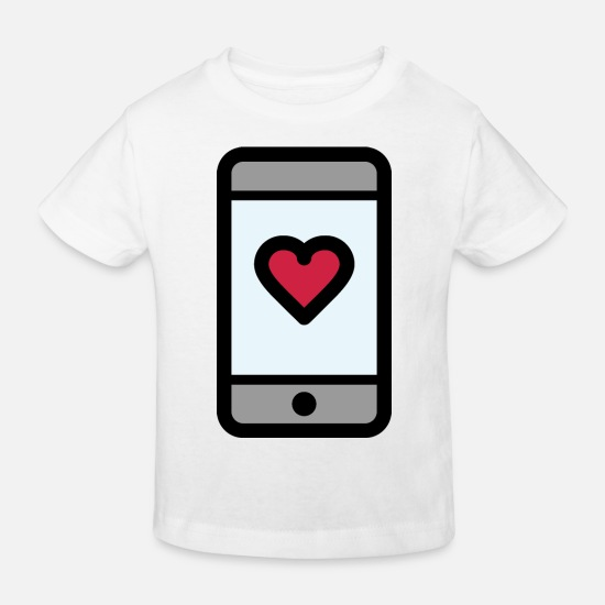 Engagement Baby Clothes - Love message on the smartphone - Kids' Organic T-Shirt white