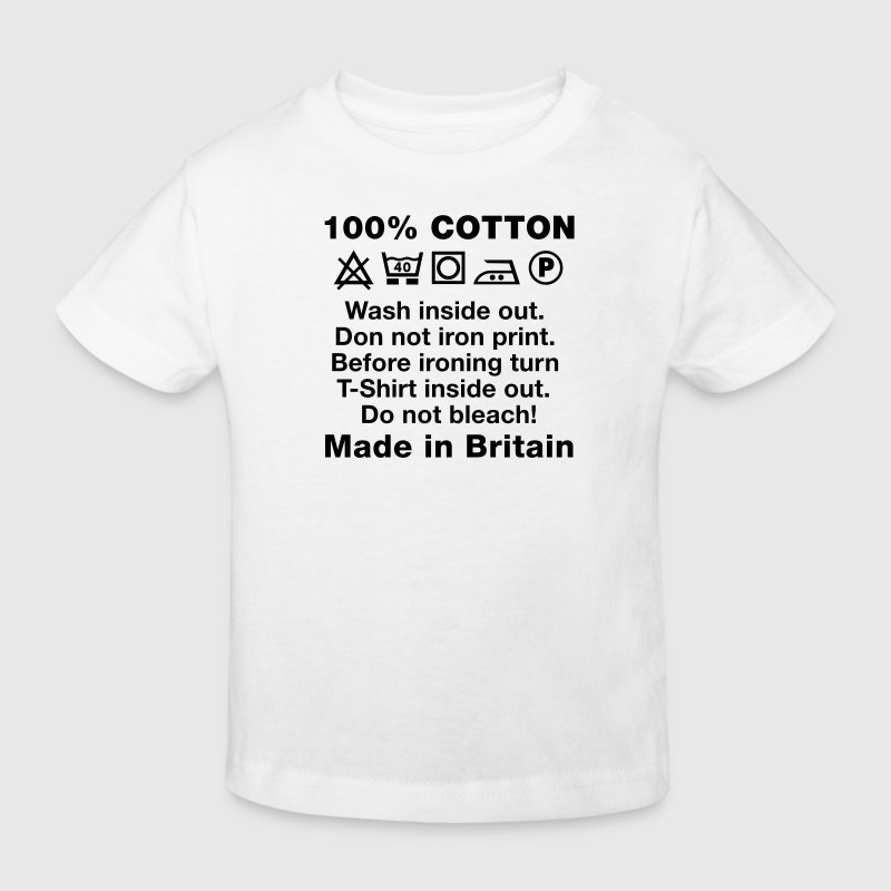 Wash tag, 100% Cotton, Made in Britain - Kids' Organic T-shirt