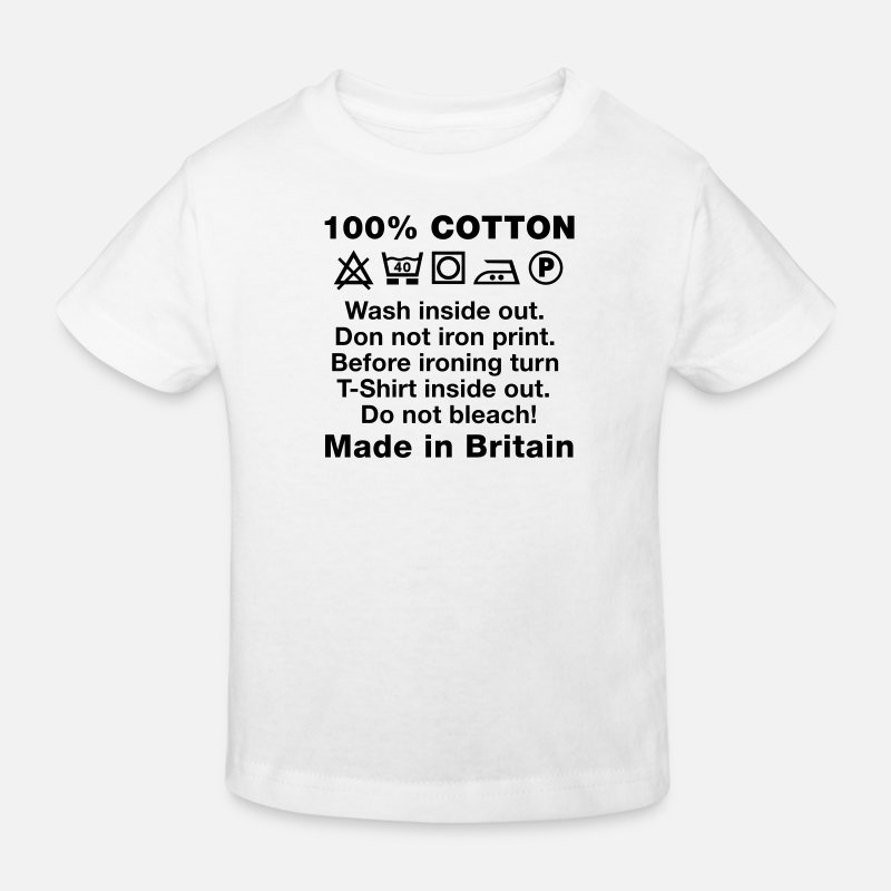 Cotton T-Shirts - Wash tag, 100% Cotton, Made in Britain - Kids' Organic T-Shirt white