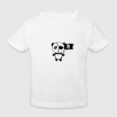 Pirate Panda mit Flagge - Kinder Bio-T-Shirt
