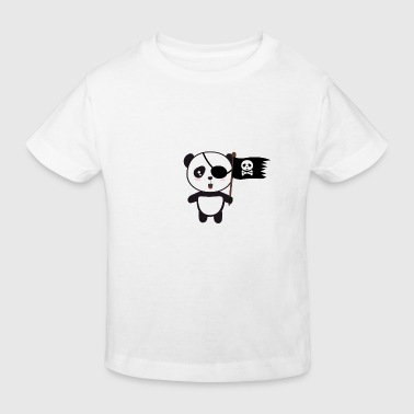 Panda Pirate Panda mit Flagge - Kinder Bio-T-Shirt