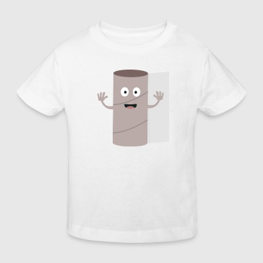 Empty toilet paper roll with a face - Kids' Organic T-Shirt