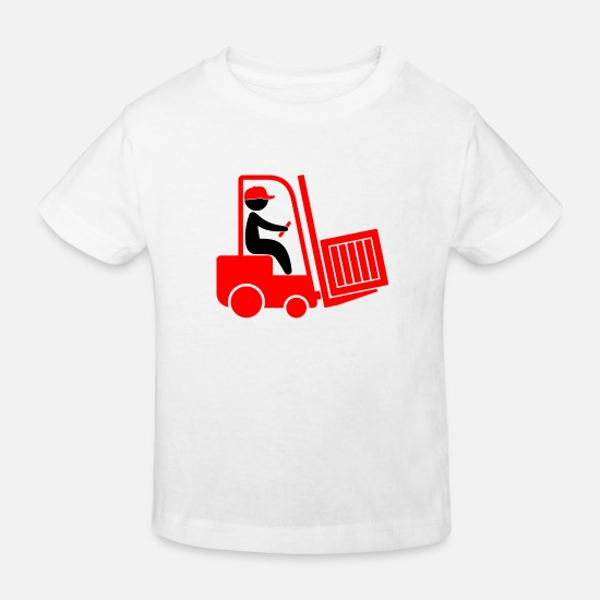 Transporter Baby Clothes - A Forklift Transporting A Box - Kids' Organic T-Shirt white