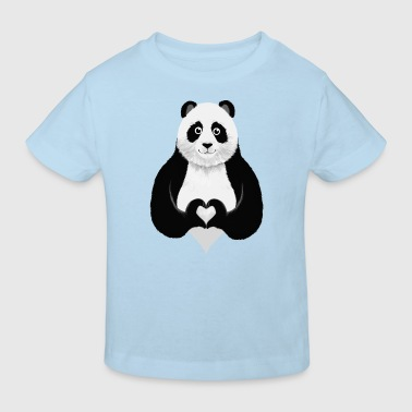 Cute Panda Heart Hand Sign - Kids' Organic T-Shirt