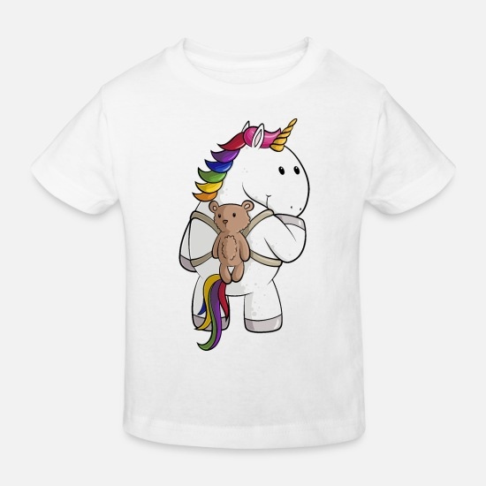 Cartoon Baby Clothes - Cartoon unicorn with backpack - Kids' Organic T-Shirt white