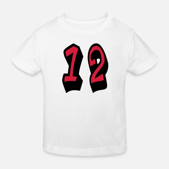 Most Loved Cool Numbers Vector Design For Favorite Number Clothes Cool Gym T Shirts Baby Clothes - ★Cool Number Twelve 12-Best Jersey Uniform Number★ - Kids' Organic T-Shirt white