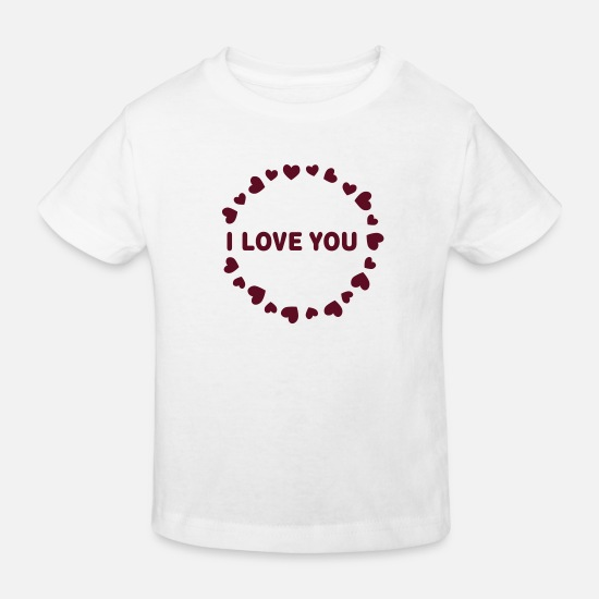 Red Baby Clothes - hearts I LOVE YOU - Kids' Organic T-Shirt white