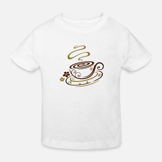 Floral Baby Clothes - Filigree coffee cup with floral elements. - Kids' Organic T-Shirt white