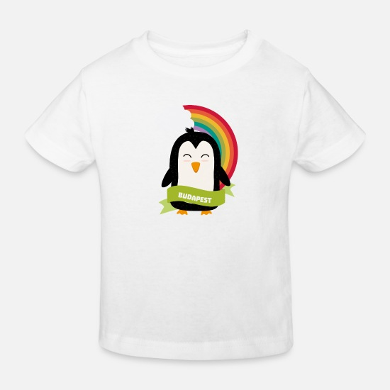 Skies Baby Clothes - Penguin Rainbow from Budapest Siribm - Kids' Organic T-Shirt white