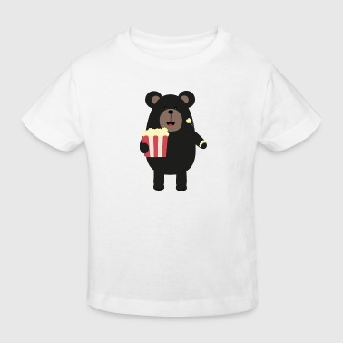 Black bear eating popcorn - Kids' Organic T-Shirt
