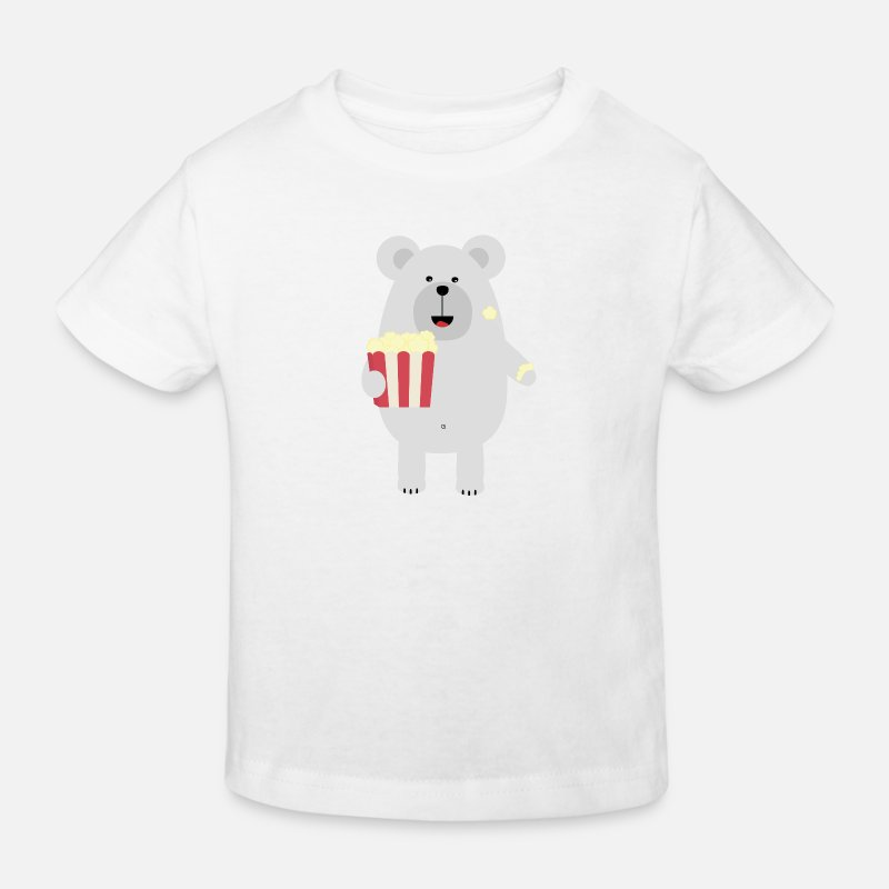 Bear T-Shirts - Polar bear with popcorn - Kids' Organic T-Shirt white
