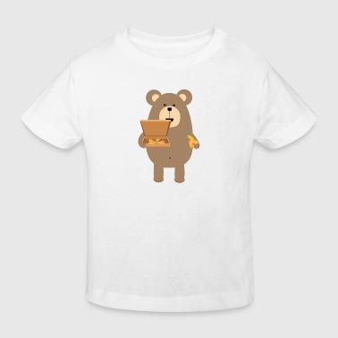Brauner Bär Pizza essen - Kinder Bio-T-Shirt