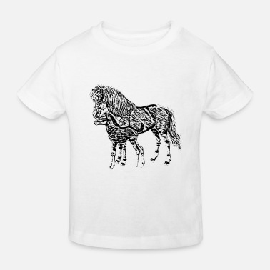 Mare Mare with a foal - Kids' Organic T-Shirt