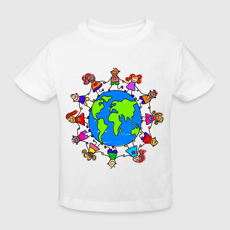 Happy Children Holding Hands Around the World - Kids' Organic T-shirt