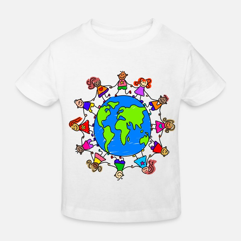 Children T-Shirts - Happy Children Holding Hands Around the World - Kids' Organic T-Shirt white