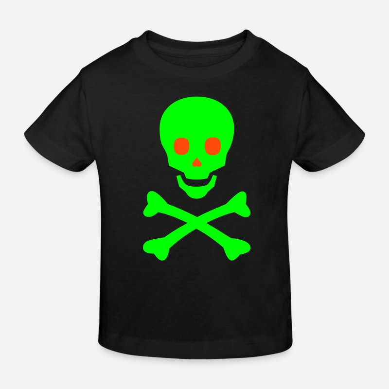 Glow-in-the-dark T-shirts - Glowing Happy Skull - Ekologisk T-shirt barn svart