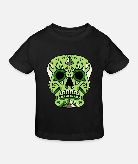 Pink Baby Clothes - Candy Skull Green - Kids' Organic T-Shirt black