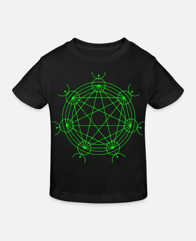 Mystisch T-Shirts - Mystik Symbol Alien Kornkreis Science-Fiction - Kinder Bio T-Shirt Schwarz
