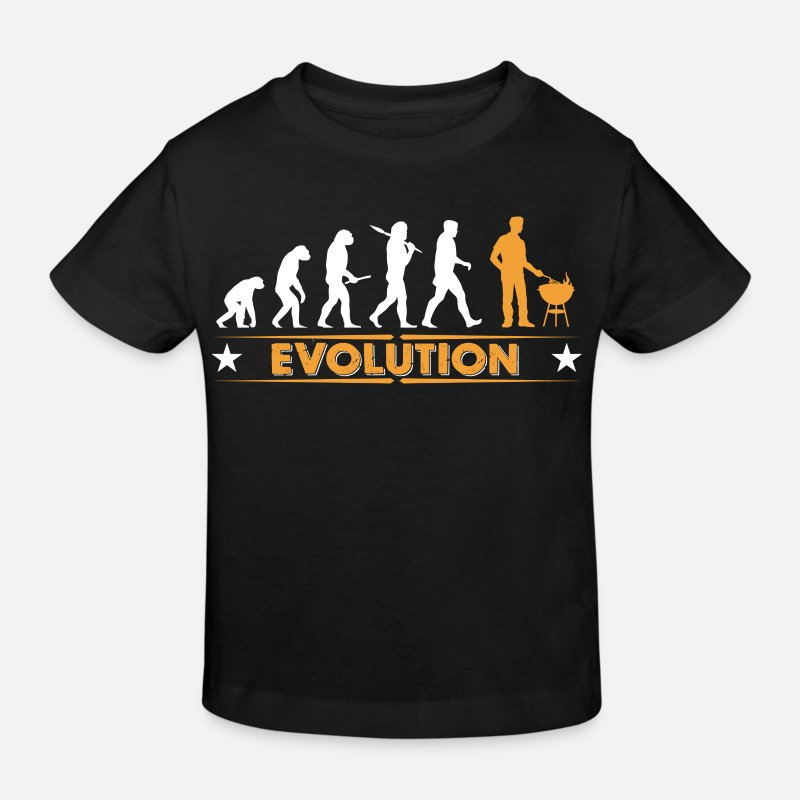 Grill T-Shirts - Barbecue - Grillmeister - Evolution - Kids' Organic T-Shirt black