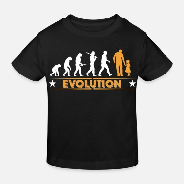 Evolution Father Father and daughter - evolution - orange/white - Kids' Organic T-Shirt