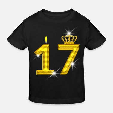 0a77cdd25a6d 17 Års Fødselsdag 17 års fødselsdag - krone - stearinlys - guld - Økologisk  T-