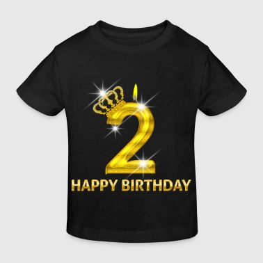 2 - Happy Birthday - Geburtstag - Zahl Gold - Kinder Bio-T-Shirt