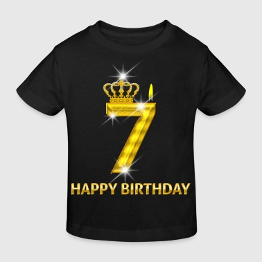 7 - Happy Birthday - Geburtstag - Zahl Gold - Kinder Bio-T-Shirt