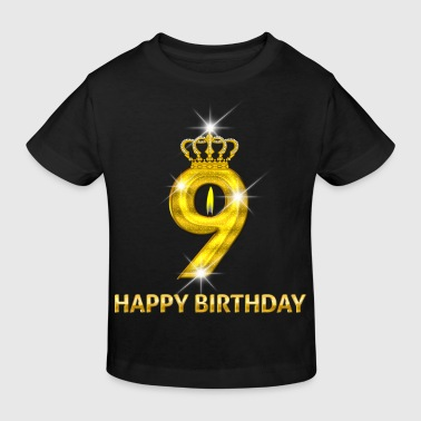 9 - Happy Birthday - Geburtstag - Zahl Gold - Kinder Bio-T-Shirt
