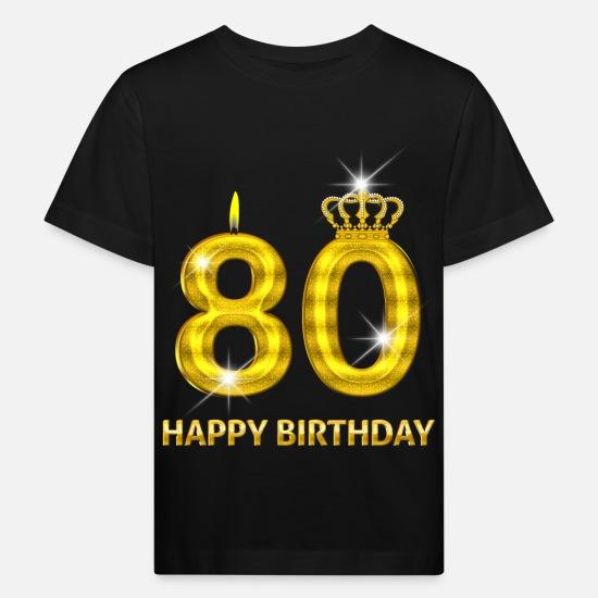 Babykleding 80.80 Happy Birthday Verjaardag Nummer Goud Kinderen Bio T Shirt