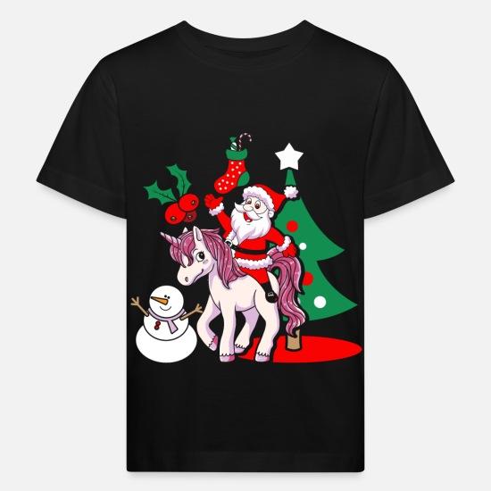 3142c511b Navidad Ropa de bebé - Regalo de Navidad de Santa Claus Santa unicornio -  Camiseta orgánica