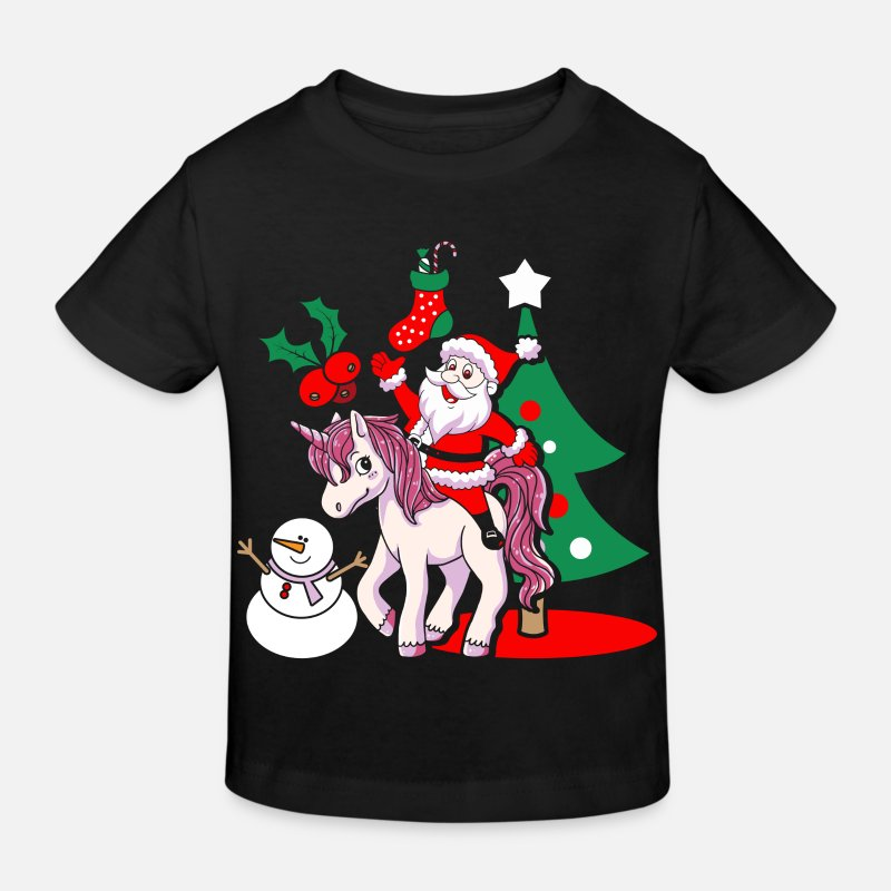 Christmas T-Shirts - Santa Unicorn Santa Claus Christmas gift - Kids' Organic T-Shirt black