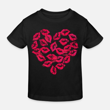 Kissing Lips Kissing Lips Heart - Kinderen Bio-T-shirt