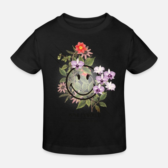 Officialbrands Baby Clothes - Smiley World Bonheur Et Joie De Vivre - Kids' Organic T-Shirt black
