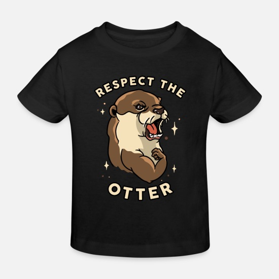 Muscular Baby Clothes - Respect The Otter - Funny Fitness Animal - Kids' Organic T-Shirt black