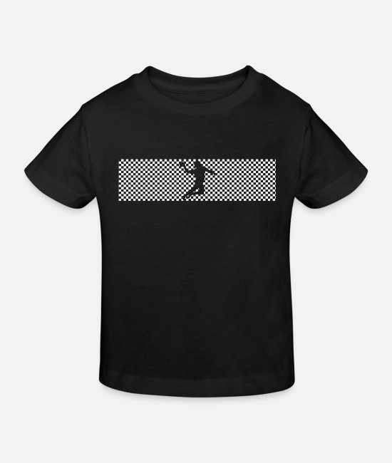 Training T-Shirts - Handball check pattern in white design - Kids' Organic T-Shirt black
