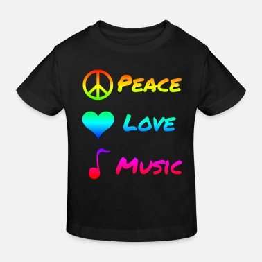 Hippie Peace Love Music Peace Music Symbol Gift - Kids' Organic T-Shirt