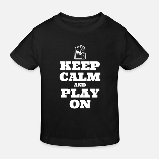 Konsol Babytøj - Keep Calm and Play On - retro-gamer-nostalgi - Økologisk T-shirt til børn sort