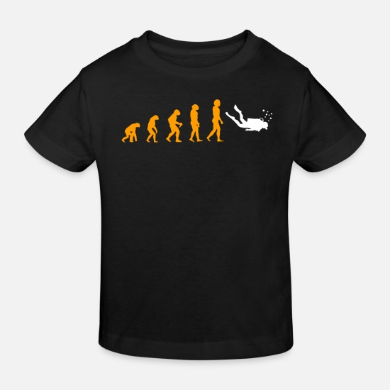 Rev Bebiskläder - Evolution Of Diving Unique Tee Shirt - Ekologisk T-shirt barn svart