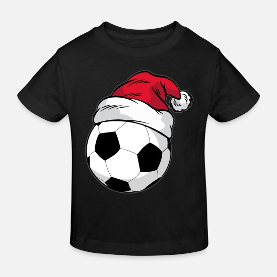 Christmas Baby Clothes - Football Christmas Santa hat - Kids' Organic T-Shirt black